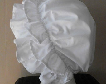 Girls and Ladies Colonial Cap Bonnet Hat with Double Ruffle