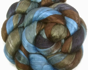Handpainted Bombyx Silk Roving - 2 oz. TRIBE - Spinning Fiber