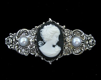 Hair Barrette Black and White Profile Cameo with Faux Pearl Accents