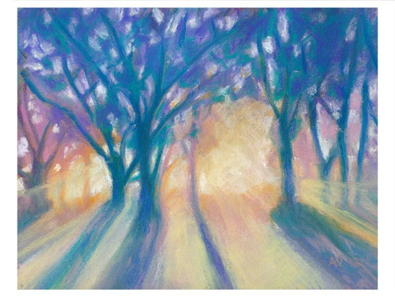 SALE Pastel Drawing Shine Through Original Pastel Painting Matted and Ready To Frame Colourful Home Art