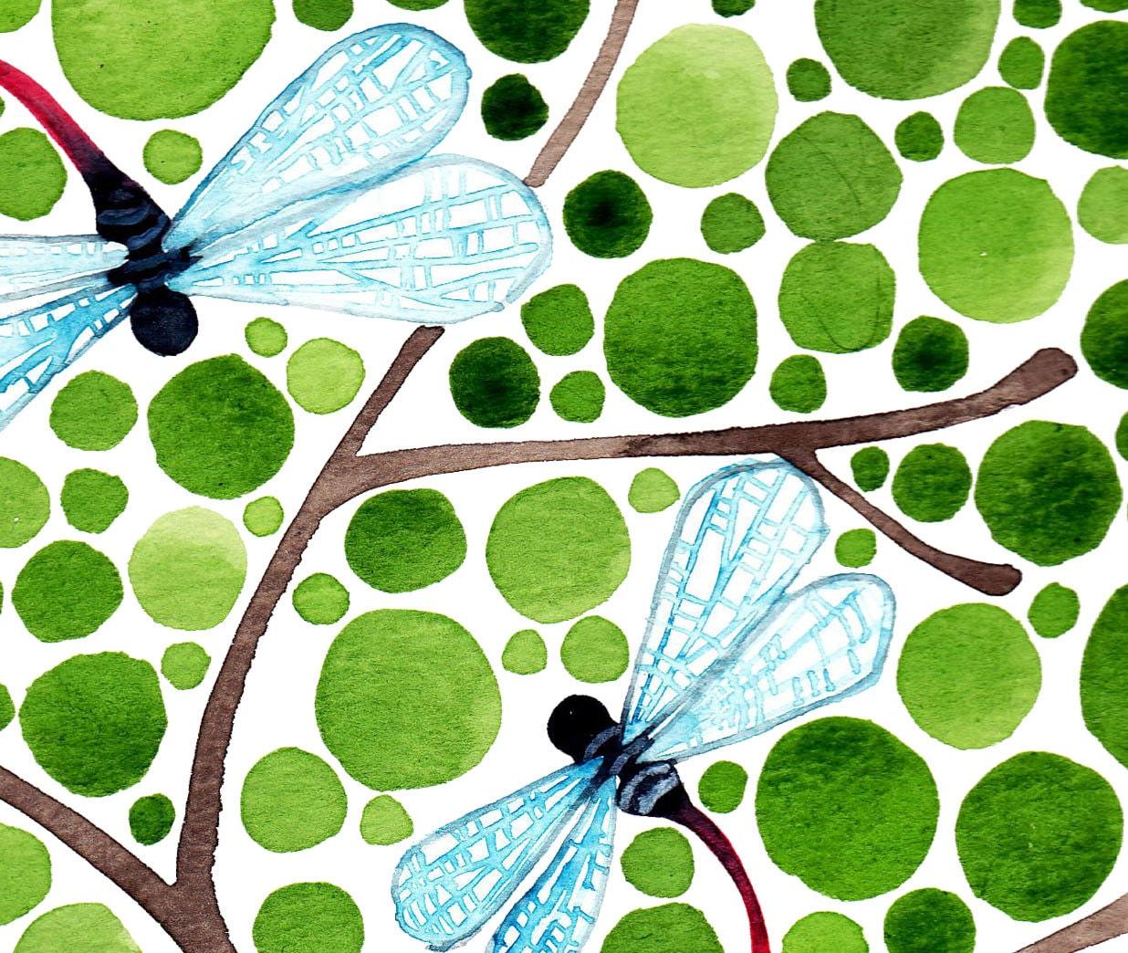 Watercolour Painting Dragonflies Watercolour Art Reproduction Print