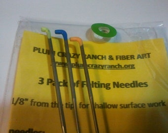 CRAZY Felting Needles Variety 38 crown triangular and star blades 3 pack color coded