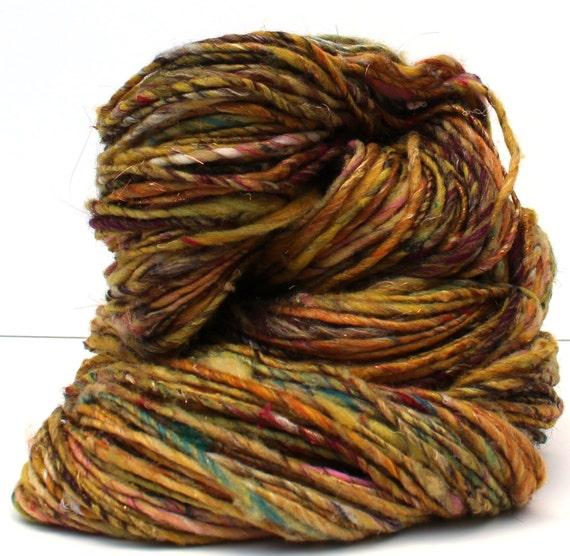 Dandelion tea -- handspun single ply yarn (175 yards - 4.9 oz.)