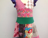 Size 7 yrs up to 9 yrs girls upcycled t-shirt twirl dress