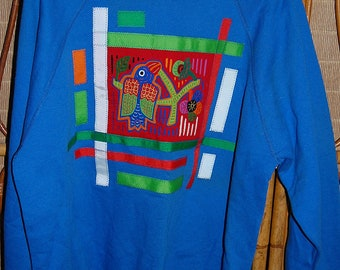 Vintage 80s Oversize Tropical Guatemalan Ethnic Graphic Tribal Sweatshirt By Bad Habits San Diego