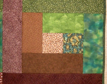Earth Brown and Olive Green Full / Queen size Quilt