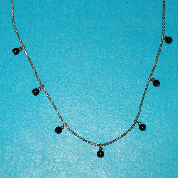 SALE - Vintage 1980s Liz Claiborne Brand Silver and Black Glass Beaded Necklace - CLEARANCE