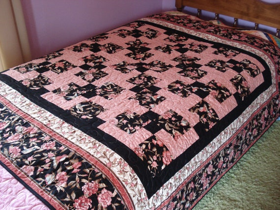 Pink and black Lap Quilt - Emma Grace Throw Blanket