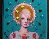 barroom martyr assemblage- neon pop art for your altar or shrine