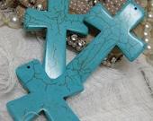 LARGE cross aqua turquoise dyed howlite 1 piece