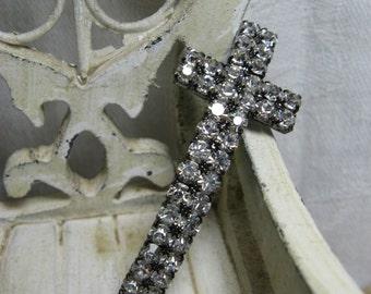 BEAUTIFUL rhinestone curved cross connector bracelet  gun metal 2 pieces