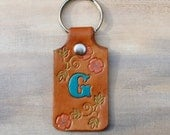 Leather Key Chain with Initial, Personalized, Tan Leather with Flowers