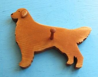 SALE! Mini Golden Retriever Dog Rustic Wood Key / Leash Holder