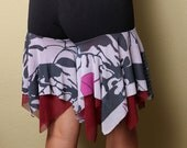Gypsy Shorts - Black/ White/ Maroon Floral - LARGE