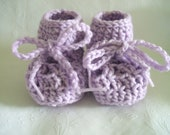 6 to 9 month Crocheted Lilac Baby Booties