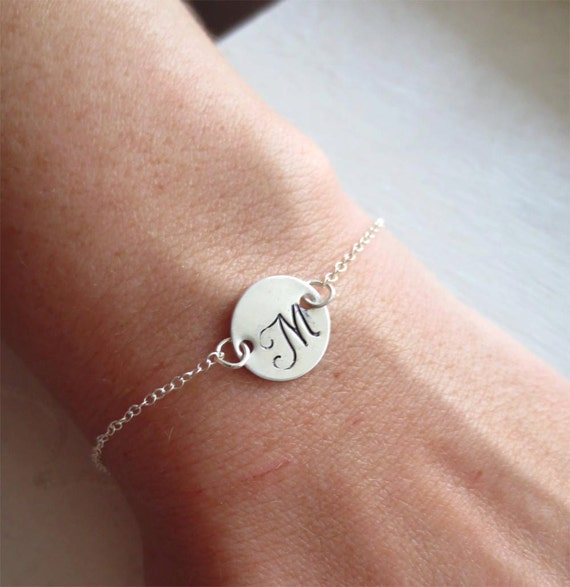 Bridesmaid Gift Initial Sterling Silver Bracelets Letter Charm Bridesmaid Gift Bride Wedding Gift Sale 15% off - SELECT QTY of 5 or More -
