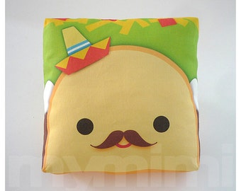 Decorative Pillow, Taco Pillow, Sombrero Pillow, Mexican Food, Throw Pillow, Kawaii, Cushion, Room Decor, Childrens Toys, 7 x 7""