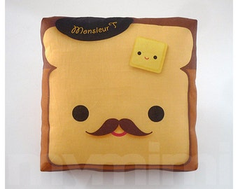 Decorative Pillow, Toast Pillow, French Toast, Breakfast, Mustache Pillow, Cushion, Throw Pillow, Kawaii Pillow, Room Decor, Toys, 7 x 7""