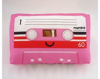 Decorative Pillow, Cassette Tape Pillow, Pink Theme, Vintage, Retro, Old School, 80's, Geekery, Room Decor, Dorm Decor, Toys, 9 x 6""