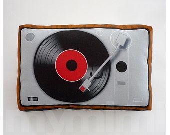 Retro Pillow, Music Pillow, Vinyl Record Player, Turntable, DJ, Disk Jockey, Music Box, Vintage, 80's, Kawaii, Room Decor, 9 x 6""
