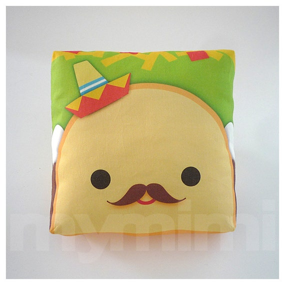 Cute Food Pillows Diy : Decorative Pillow Taco Pillow Sombrero Pillow Mexican by mymimi