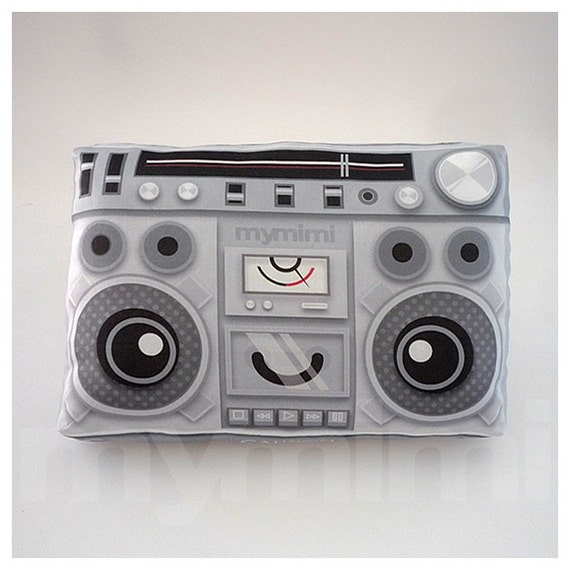 "Decorative Pillow, Boombox Pillow, Music Pillow, Vintage Radio, 80's Music, Stereo, Hip Hop, Throw Pillow, Cushion, Old School, Dorm, 9 x 6"""