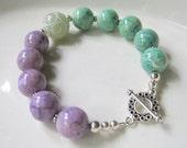 Lavender Green Fossil Stone Bracelet