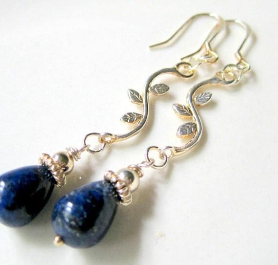 Monaco Blue Lapis Teardrop Dangle Earrings. Sterling Silver Branches, Pantone Inspired