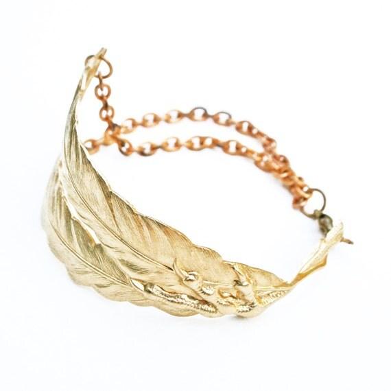 Bird Claw Bracelet / Feather Cuff / Big Bracelet / Gift