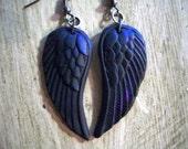 Raven's wings - oilslick purple on black matte crow gothic jewelry earrings