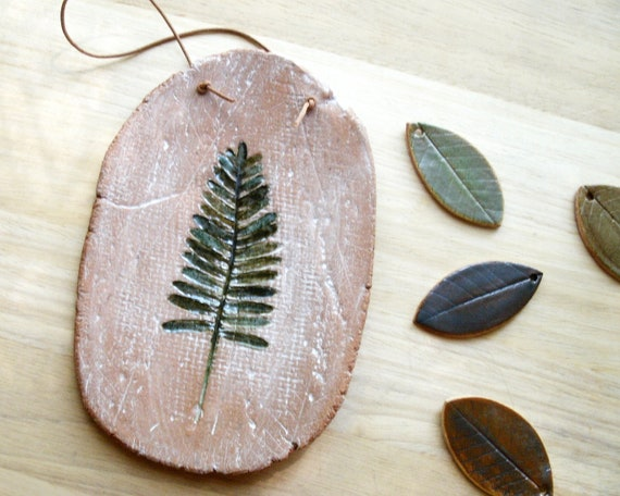 Resurrection Fern Impression Stoneware Wall Hanging