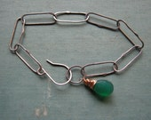 Bracelet - Oxidized Sterling Chain with Green Onyx