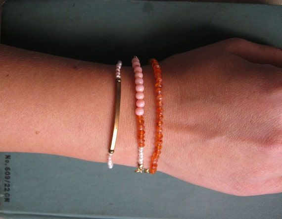 Georgia Bracelet Set - Hand-knotted Carnelian, Seed Pearl, Coral, Brass