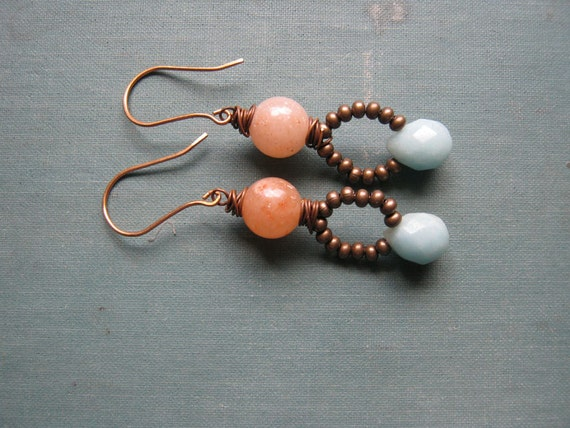 Mint, Peach & Brass earrings