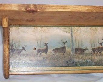 Deer Wood Wall Shelf Plate Rack Cabin Lodge Country Wall Decor Handcrafted