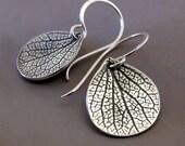 Petal Earrings in Sterling Silver - Small Hydrangea Flower Petal Earrings