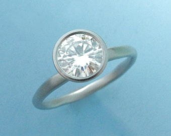 Round Moissanite Bezel Solitaire Engagement Ring in Palladium 950 - River - Choose a Stone Size