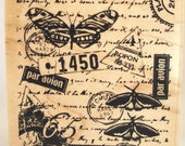 mail art collage postal rubber stamp