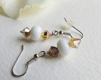 Jewelry, Dangle Earrings, White Lampwork Bead, Swavorski Crystal Earrings, Statteam