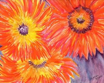 Sunflower painting, Teddy Bear Sunflowers watercolors paintings original, Sunflower watercolor painting, 12 x 9 sunflower decor floral
