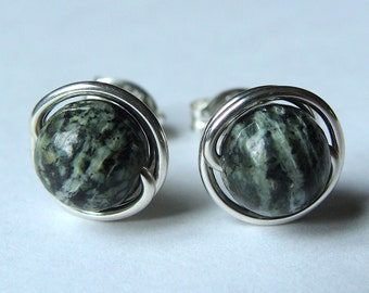 Green Zebra Jasper Studs 6mm Green Zebra Jasper Earrings Wire Wrapped in Sterling Silver Post Earrings Studs