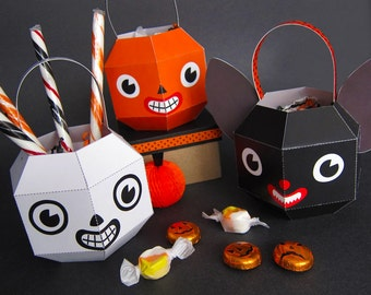 Halloween Treat Containers Printable Paper Craft PDF