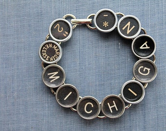 TYPEWRITER Key BRACELET Jewerly Made with Typewriter Keys MICHIGAN