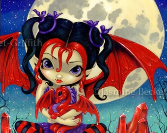 Ruby Moon dragonling baby dragon fairy art print by Jasmine Becket-Griffith 8x10