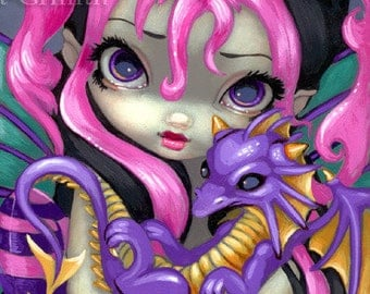 Faces of Faery 142 purple dragonling big eye fairy face art print by Jasmine Becket-Griffith 6x6