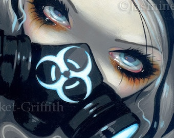 Faces of Faery 143 gas mask steampunk big eye fairy face art print by Jasmine Becket-Griffith 6x6