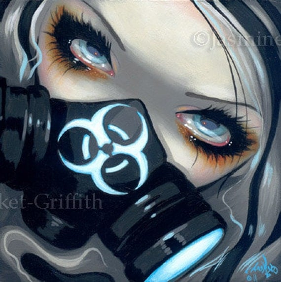 Faces of faery 143 gas mask steampunk big eye fairy face art - Anime girl with gas mask ...