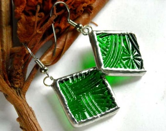 Green Textured  Stained Glass Earrings