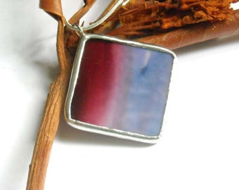 Burgundy and Purple Stained Glass Pendant