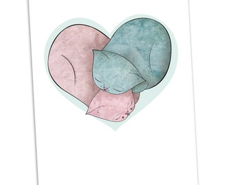 Cat Valentine Card -  Curled up love - thank you birthday wedding engagement thankyou valentines day